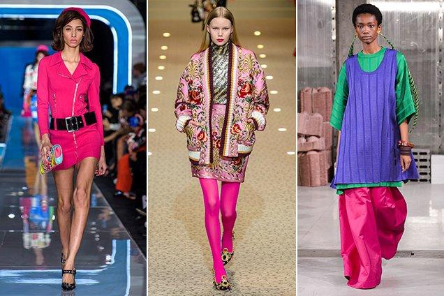 Hot pink on the Fall 2018 Milan runways Moschino Fall 2018, Dolce & Gabbana Fall 2018, Marni Fall 2018
