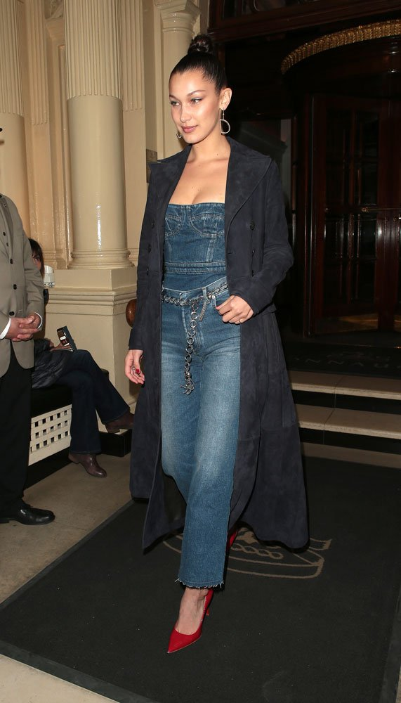 Bella Hadid in a Dior denim tux and O-ring chain belt back in April 2017.