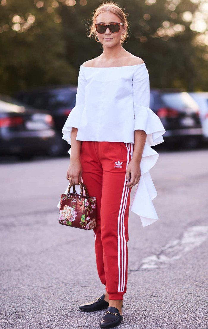 white blouse Street style look at Copenhagen Spring 2018 Fashion Week