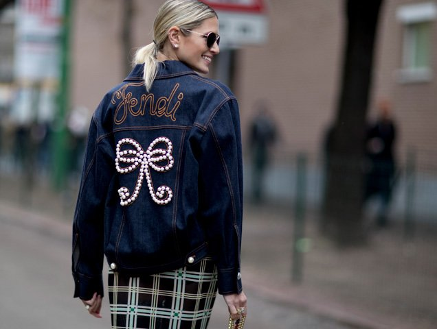 Fendi denim jacket street style