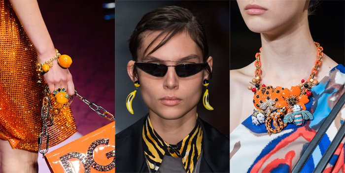 Tropical jewelry on the Spring 2018 runways at Dolce & Gabbana, Prada and Marc Jacobs