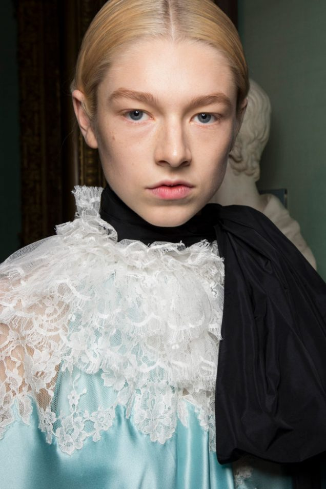 Hunter Schafer backstage at Erdem Spring 2019.
