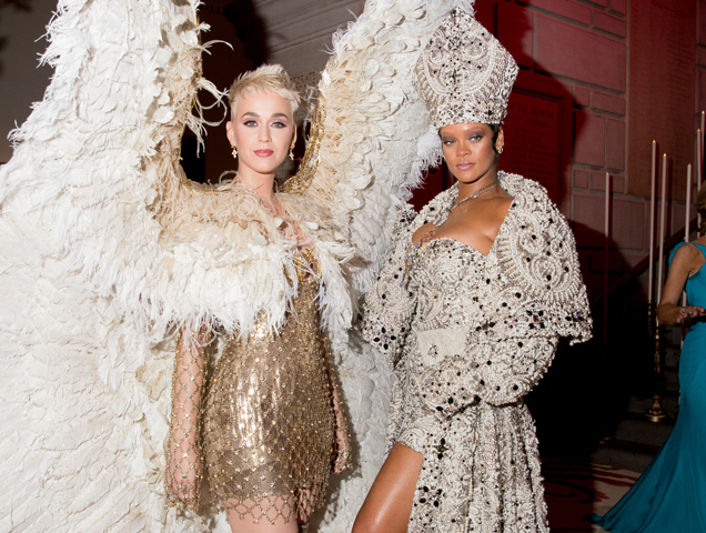 Katy Perry and Rihanna attend the Heavenly Bodies: Fashion & The Catholic Imagination Costume Institute Gala at The Metropolitan Museum of Art on May 7, 2018 in New York City