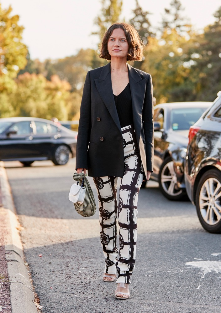 Patterned pants on the street.