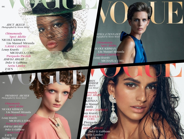 UK Vogue December 2018 : Adut Akech, Stella Tennant, Saffron Vadher & Primrose Archer by Steven Meisel