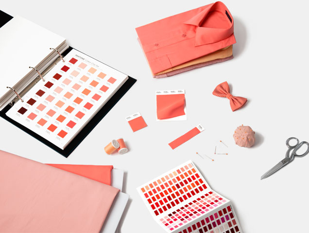 Textiles in Living Coral, 2019 Pantone color of the year