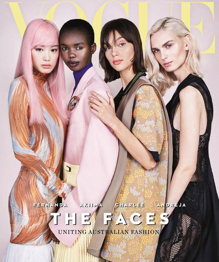 Akiima, Charlee Fraser and Fernanda Ly, Andreja Pejic Vogue Australia April 2018