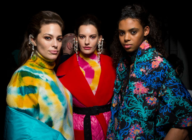 Models backstage at Prabal Gurung Fall 2019.