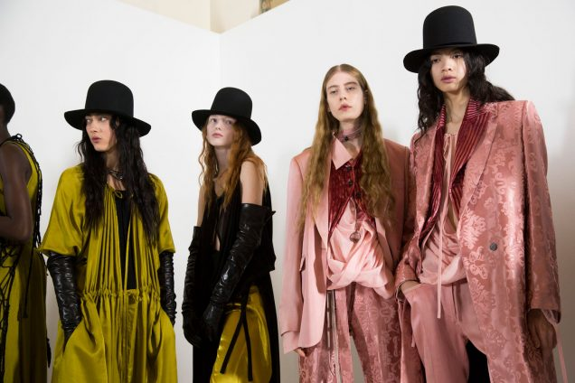 Noah Carlos (far right) with fellow Ann Demeulemeester models backstage at the brand's Fall 2019 show.