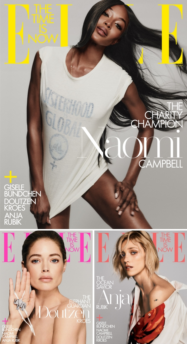 US Elle July 2019 : Gisele Bündchen, Naomi Campbell, Doutzen Kroes & Anja Rubik by Chris Colls