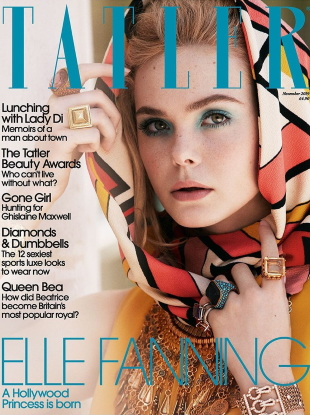 Tatler November 2019 : Elle Fanning by Jack Waterlot