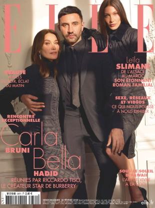 Elle France February 28, 2020 : Carla Bruni, Riccardo Tisci & Bella Hadid by Mark Seliger
