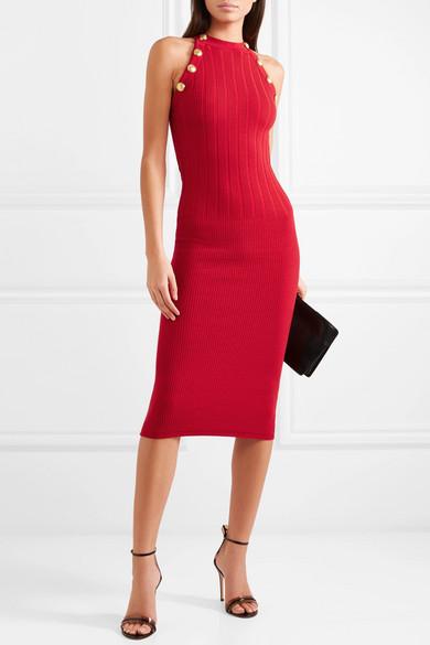 Balmain  10 Versatile Dresses That Will Take You From Work to Play Balmain Ribbed Wool Blend Midi Dress