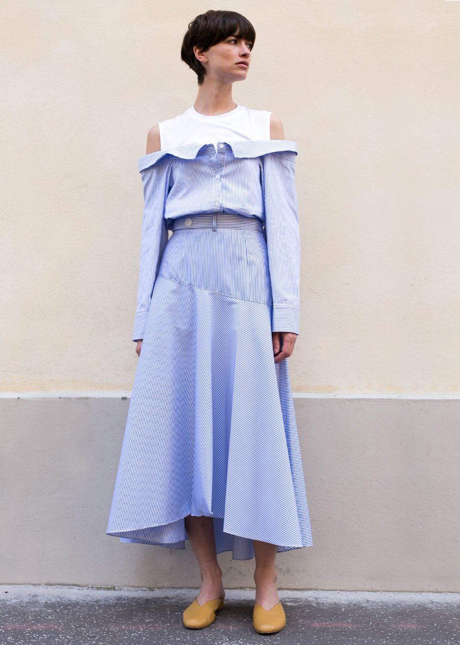 The Frankie Shop  27 Midi Skirts You Need in Your Closet ASAP Frankie Shop Chambray Striped