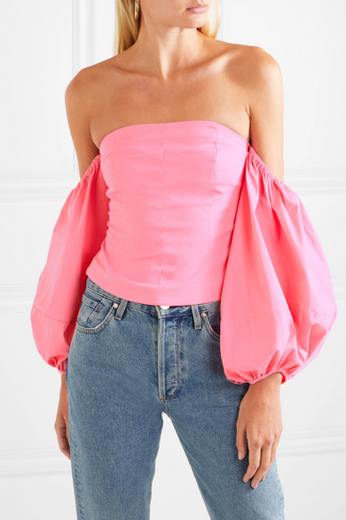 Staud  The Most Unpredictable Spring Trends to Add to Your Closet Staud Emma Off the Shoulder Stretch Cotton Poplin Top