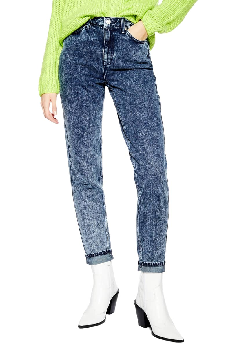 Topshop  The Most Unpredictable Spring Trends to Add to Your Closet Topshop Acid Wash Mom Jeans